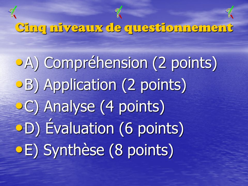 Cinq niveaux de questionnement A) Compréhension (2 points) A) Compréhension (2 points) B) Application (2 points) B) Application (2 points) C) Analyse