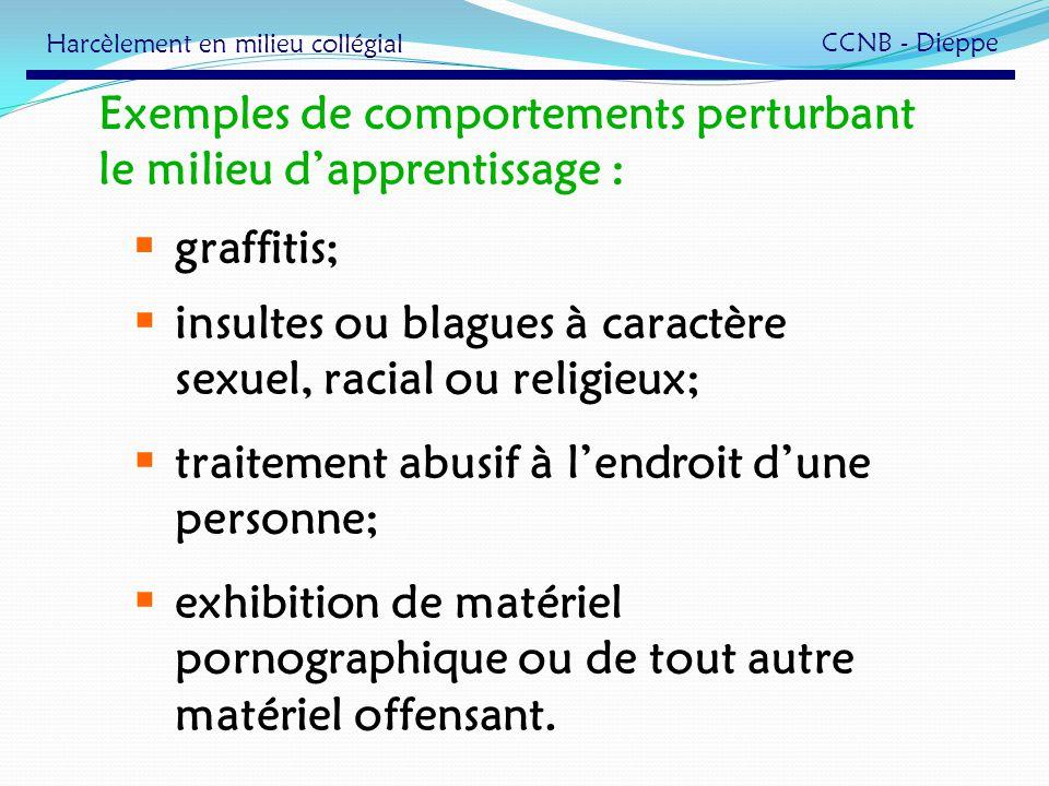 Exemples de comportements perturbant le milieu dapprentissage : graffitis; insultes ou blagues à caractère sexuel, racial ou religieux; traitement abu