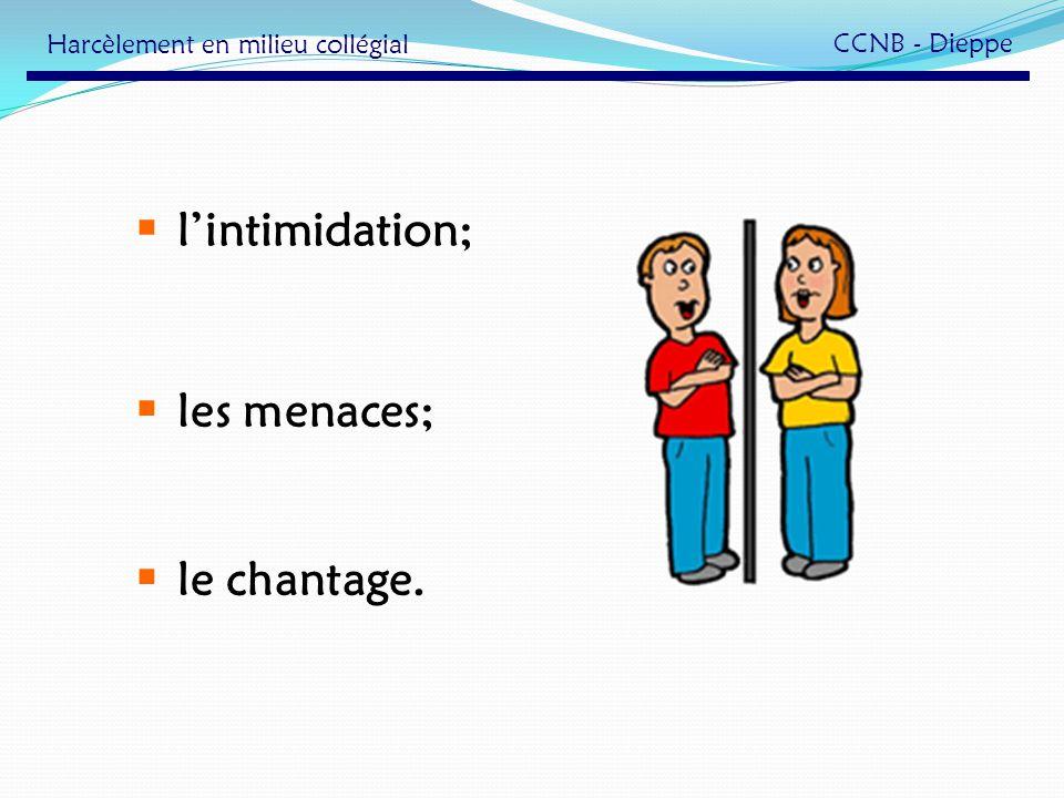 lintimidation; les menaces; le chantage. Harcèlement en milieu collégial CCNB - Dieppe
