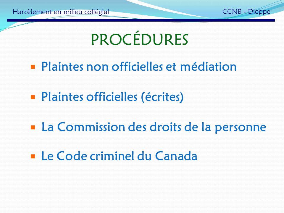 PROCÉDURES La Commission des droits de la personne Le Code criminel du Canada Plaintes officielles (écrites) Plaintes non officielles et médiation Har
