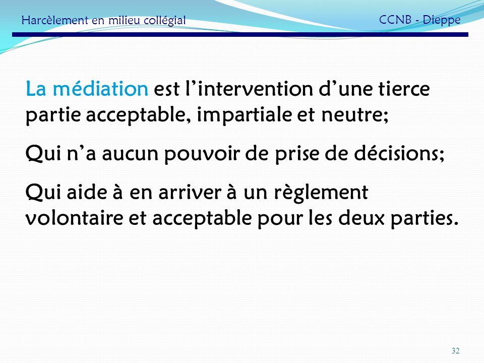 32 La médiation est lintervention dune tierce partie acceptable, impartiale et neutre; Qui na aucun pouvoir de prise de décisions; Qui aide à en arriv