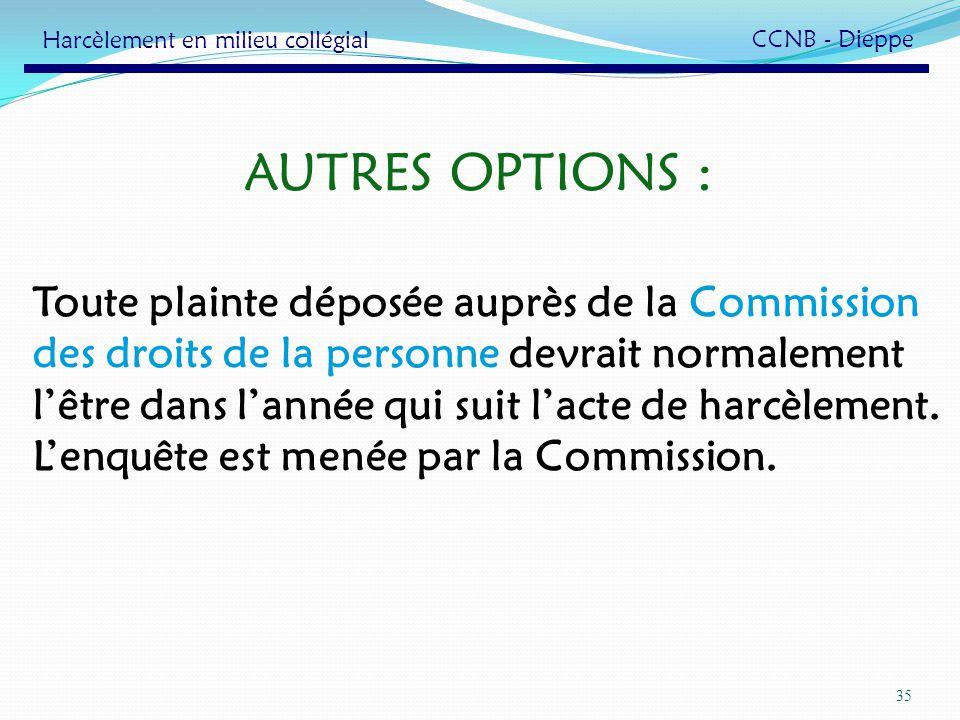 35 AUTRES OPTIONS : Toute plainte déposée auprès de la Commission des droits de la personne devrait normalement lêtre dans lannée qui suit lacte de ha