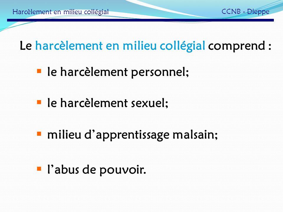 Le harcèlement en milieu collégial comprend : le harcèlement sexuel; labus de pouvoir. milieu dapprentissage malsain; le harcèlement personnel; Harcèl