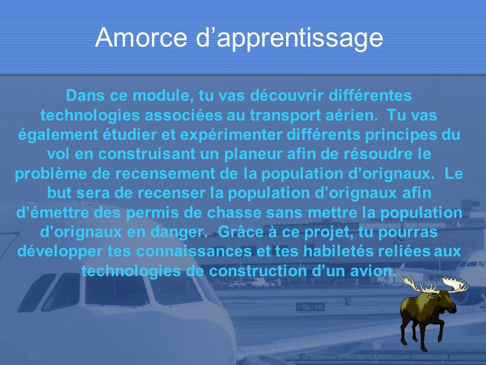 Amorce dapprentissage Dans ce module, tu vas découvrir différentes technologies associées au transport aérien.
