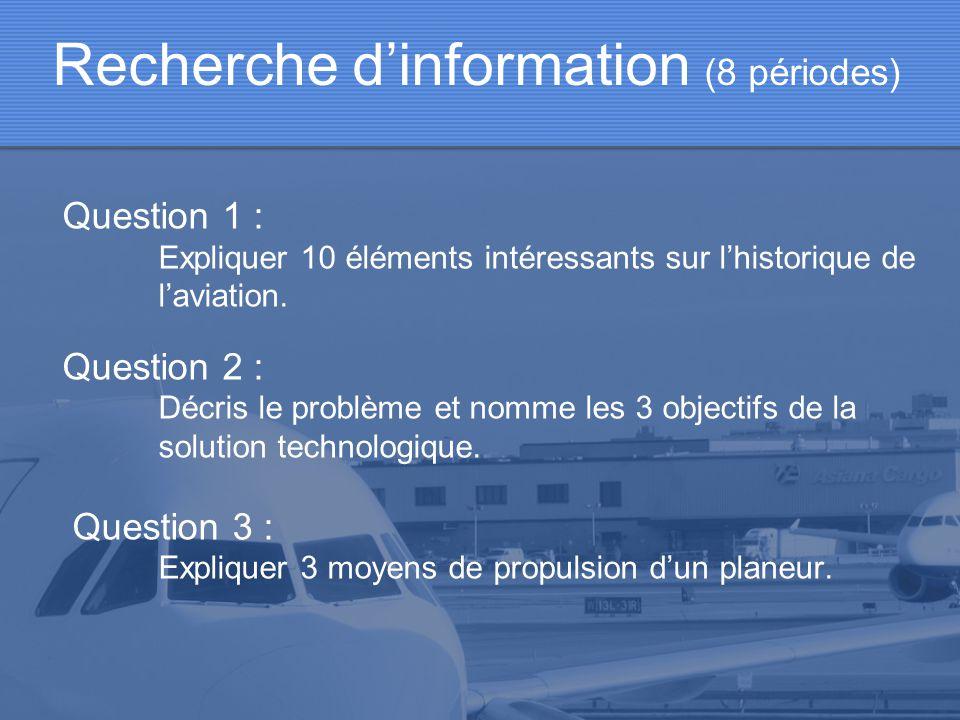 Question 1 : Expliquer 10 éléments intéressants sur lhistorique de laviation. Question 2 : Décris le problème et nomme les 3 objectifs de la solution