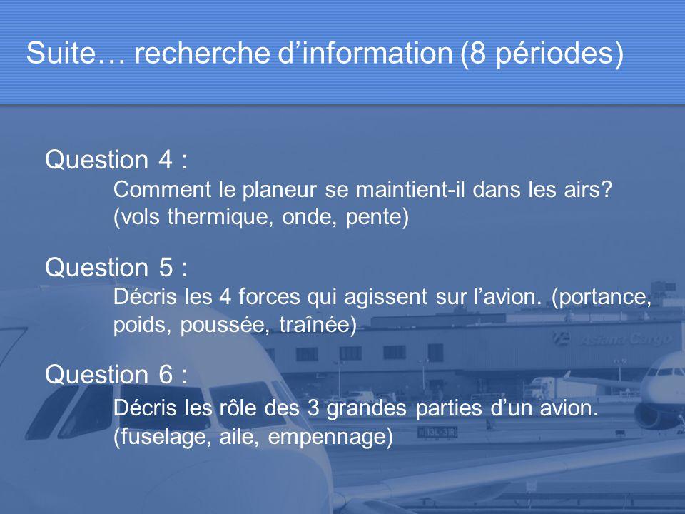 Suite… recherche dinformation (8 périodes) Question 4 : Comment le planeur se maintient-il dans les airs? (vols thermique, onde, pente) Question 5 : D