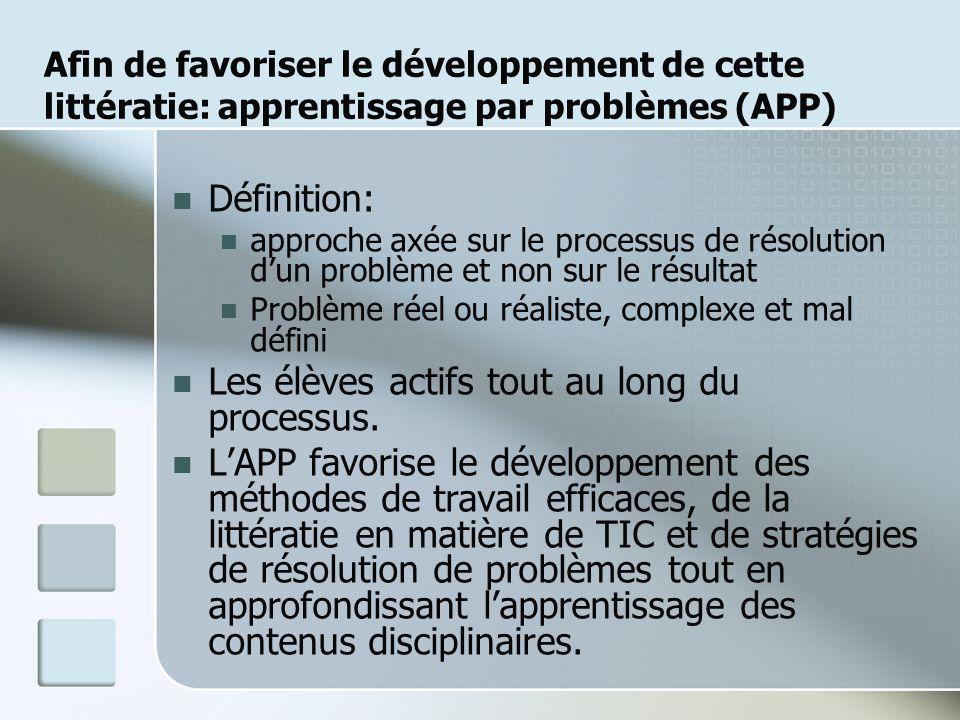 Afin de favoriser le développement de cette littératie: apprentissage par problèmes (APP) Définition: approche axée sur le processus de résolution dun