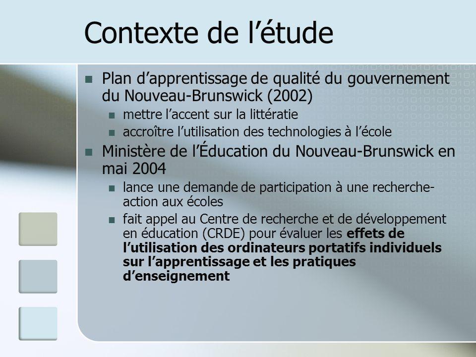 Contexte de létude Plan dapprentissage de qualité du gouvernement du Nouveau-Brunswick (2002) mettre laccent sur la littératie accroître lutilisation