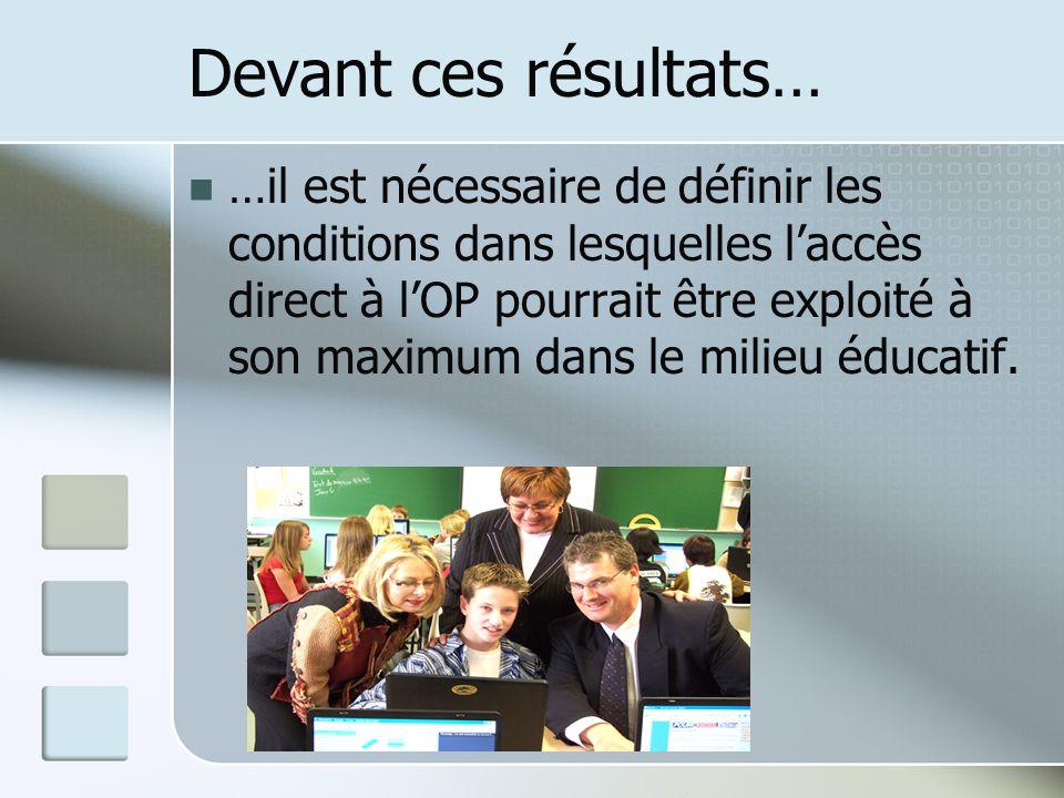Devant ces résultats… …il est nécessaire de définir les conditions dans lesquelles laccès direct à lOP pourrait être exploité à son maximum dans le milieu éducatif.