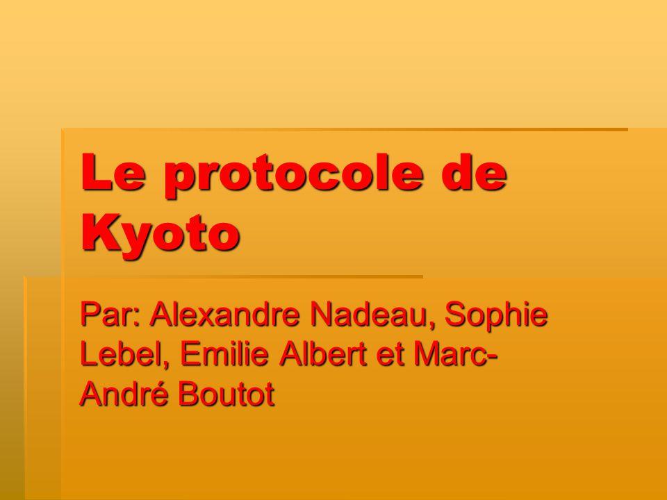Le protocole de Kyoto Par: Alexandre Nadeau, Sophie Lebel, Emilie Albert et Marc- André Boutot