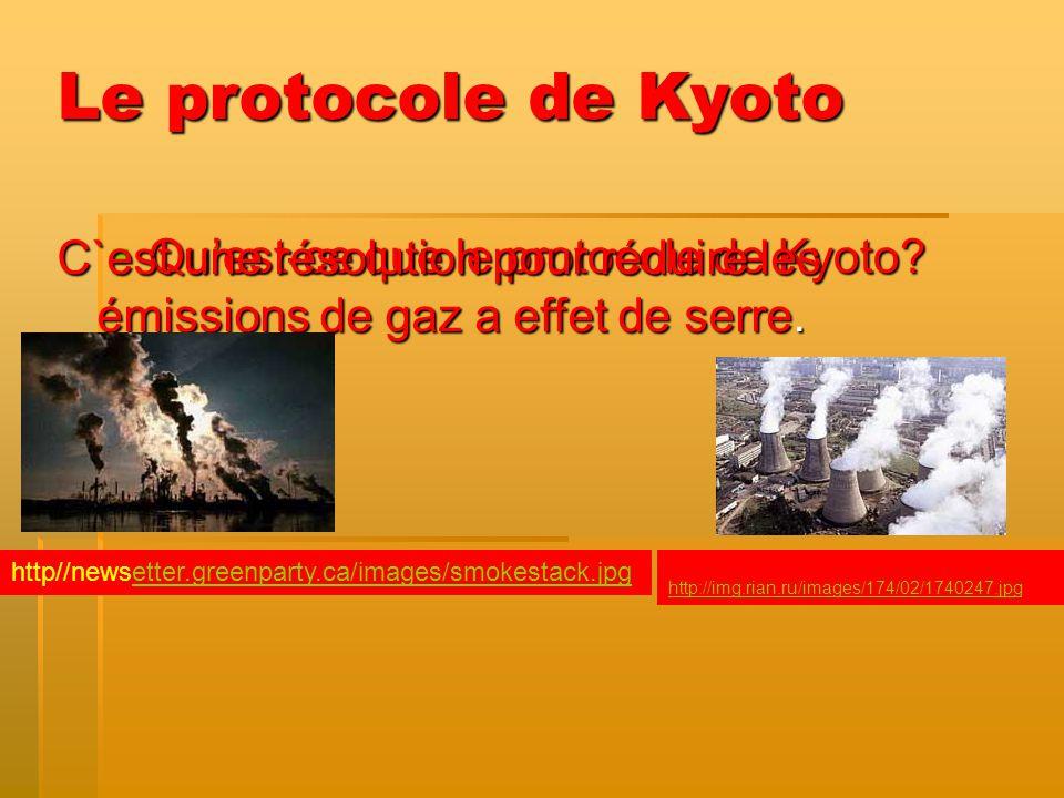 Quest-ce que le protocole de Kyoto? Quest-ce que le protocole de Kyoto? Le protocole de Kyoto C`est une résolution pour réduire les émissions de gaz a