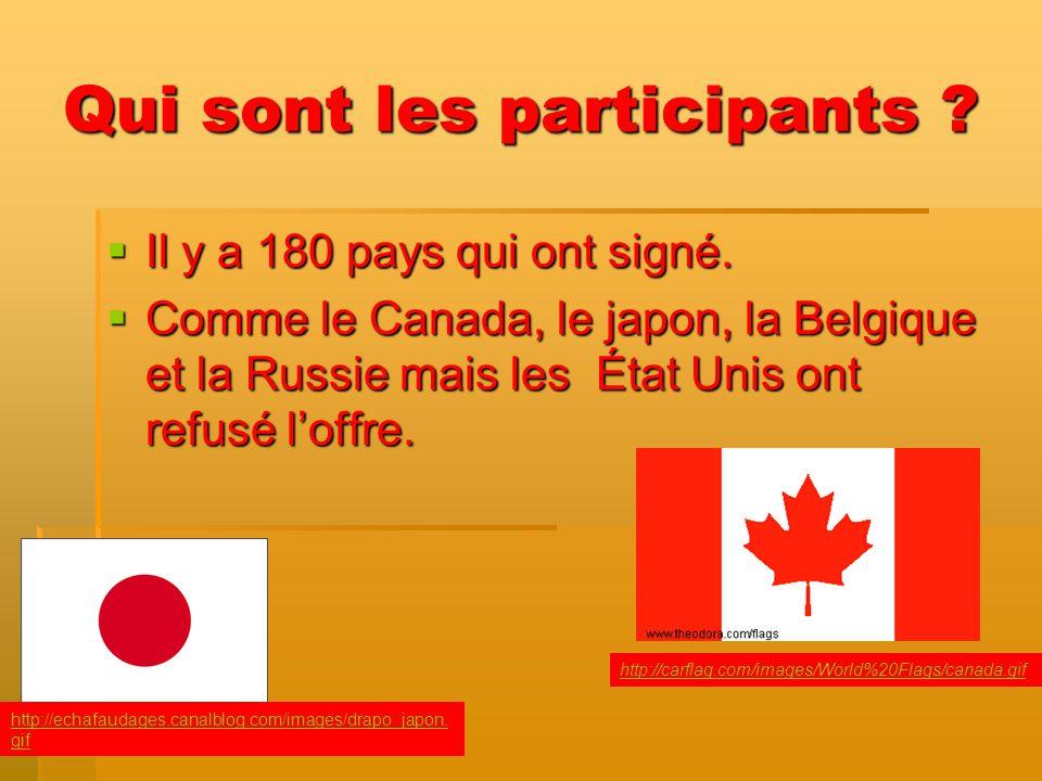 Qui sont les participants ? Il y a 180 pays qui ont signé. Il y a 180 pays qui ont signé. Comme le Canada, le japon, la Belgique et la Russie mais les