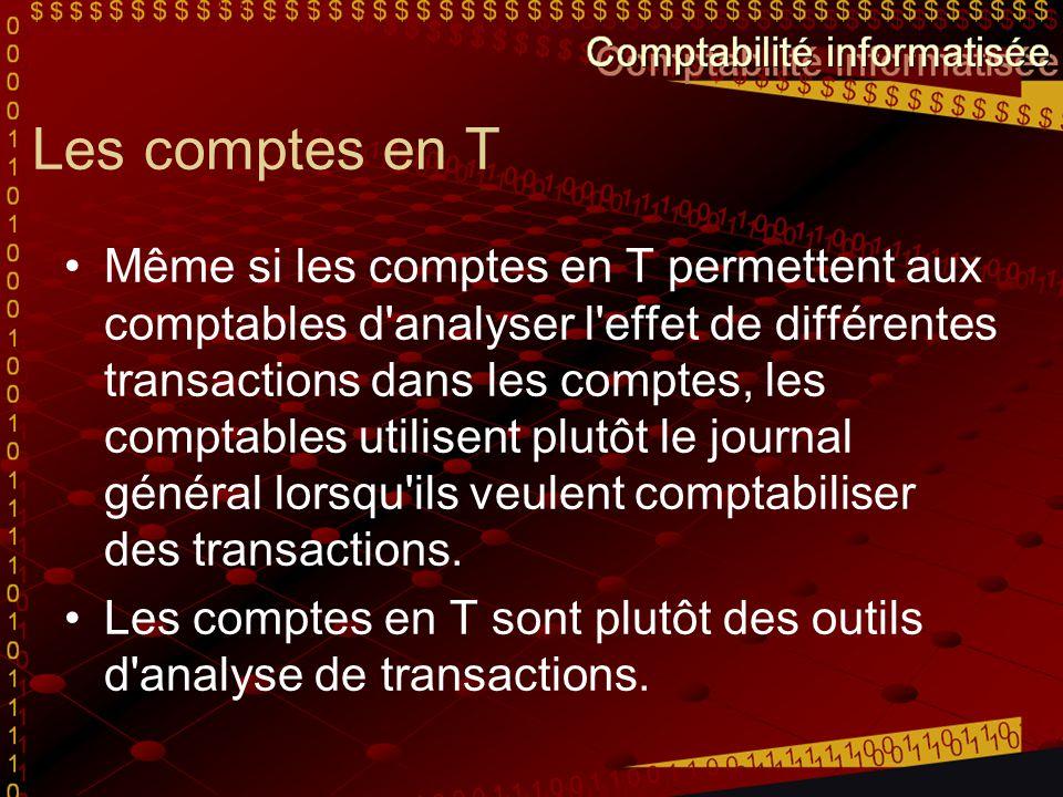Les comptes en T Même si les comptes en T permettent aux comptables d'analyser l'effet de différentes transactions dans les comptes, les comptables ut