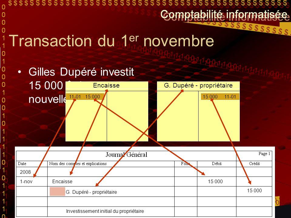 Transaction du 1 er novembre Gilles Dupéré investit 15 000 $ dans sa nouvelle entreprise. Encaisse 11-01 15 000 G. Dupéré - propriétaire 15 000 11-01