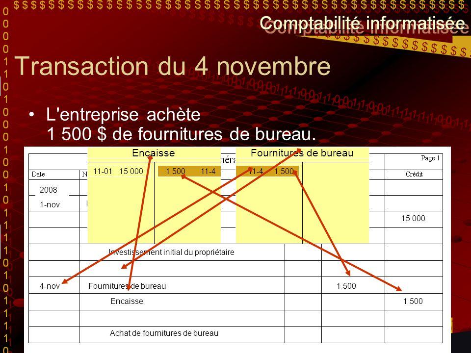 Transaction du 4 novembre L'entreprise achète 1 500 $ de fournitures de bureau. Encaisse G. Dupéré - propriétaire 15 000 Investissement initial du pro