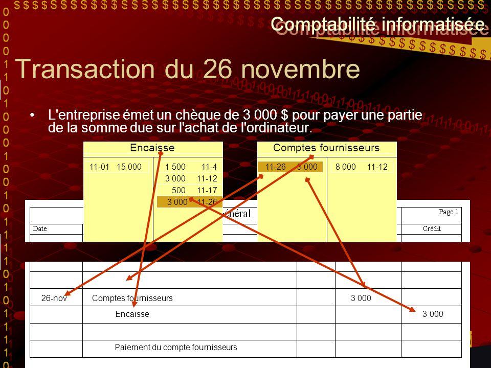 Transaction du 26 novembre L'entreprise émet un chèque de 3 000 $ pour payer une partie de la somme due sur l'achat de l'ordinateur. Pour nous aider à