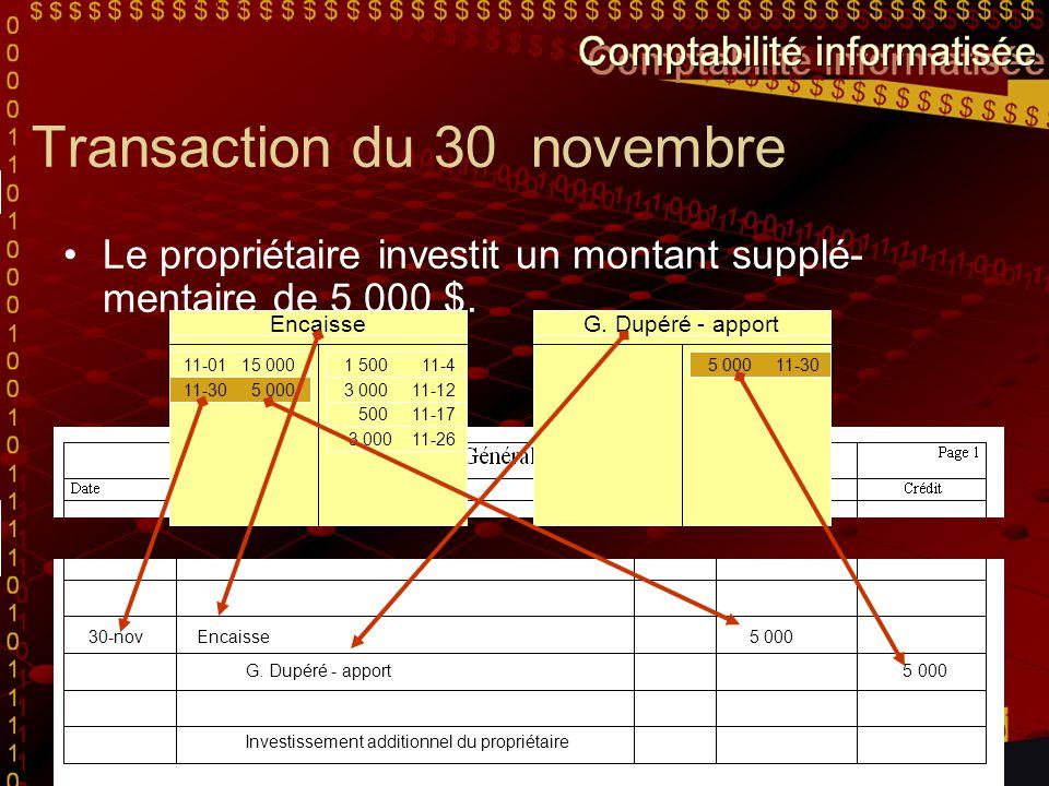 Transaction du 30 novembre Le propriétaire investit un montant supplé- mentaire de 5 000 $. Pour nous aider à écrire cette transaction de façon offici