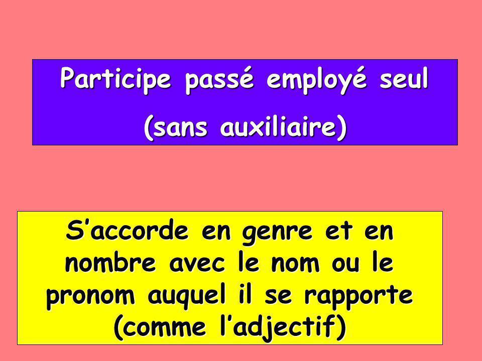 Participe passé employé seul Participe passé employé seul (sans auxiliaire) (sans auxiliaire) Saccorde en genre et en nombre avec le nom ou le pronom