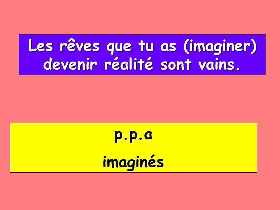 Les rêves que tu as (imaginer) devenir réalité sont vains.
