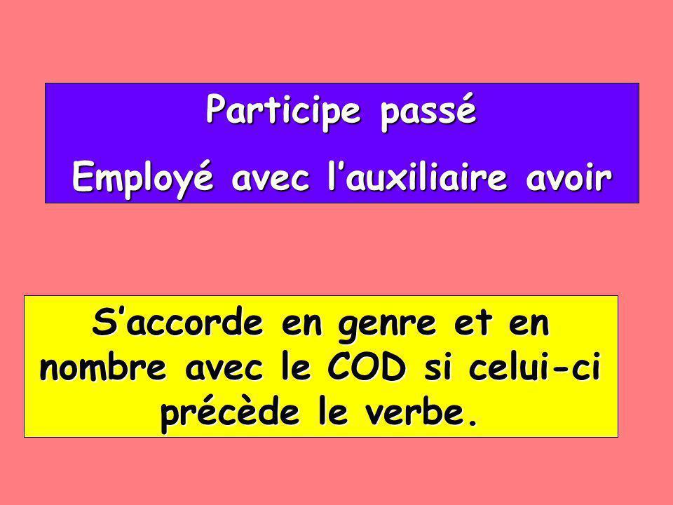 Participe passé Participe passé Employé avec lauxiliaire avoir Employé avec lauxiliaire avoir Saccorde en genre et en nombre avec le COD si celui-ci p