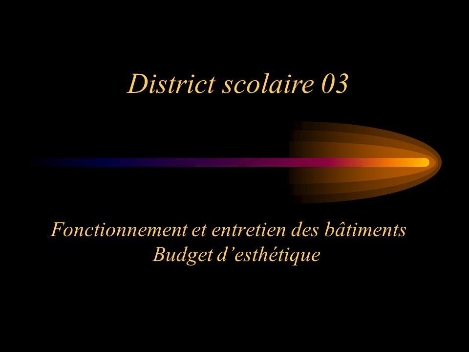 Fonctionnement et entretien des bâtiments Budget desthétique District scolaire 03