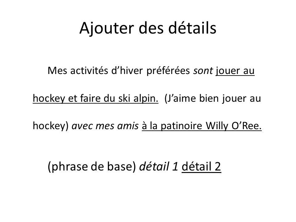Ajouter des détails Mes activités dhiver préférées sont jouer au hockey et faire du ski alpin.