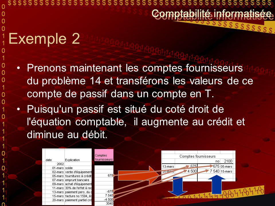 Exemple 2 Prenons maintenant les comptes fournisseurs du problème 14 et transférons les valeurs de ce compte de passif dans un compte en T. Puisqu'un
