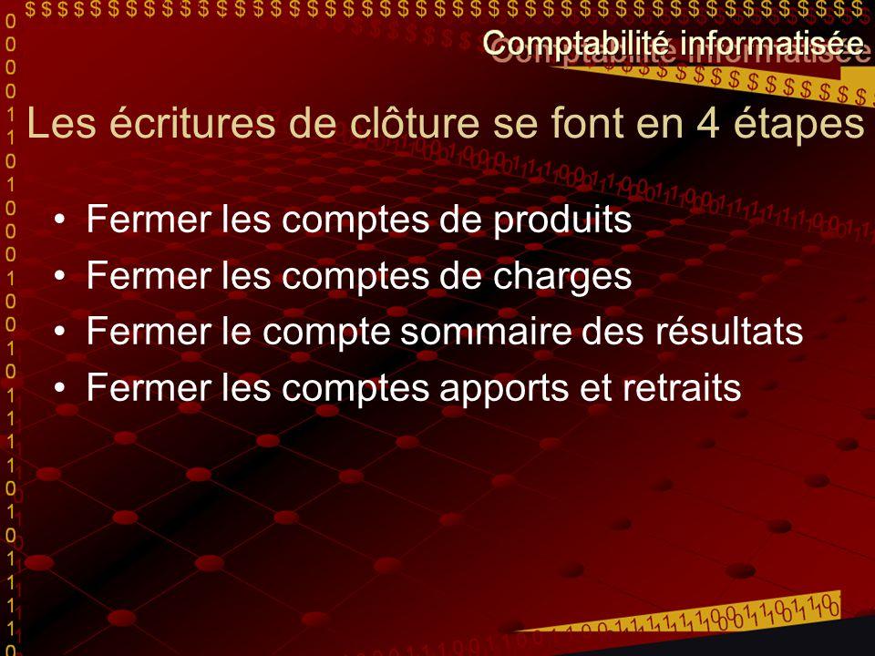 Les écritures de clôture se font en 4 étapes Fermer les comptes de produits Fermer les comptes de charges Fermer le compte sommaire des résultats Ferm