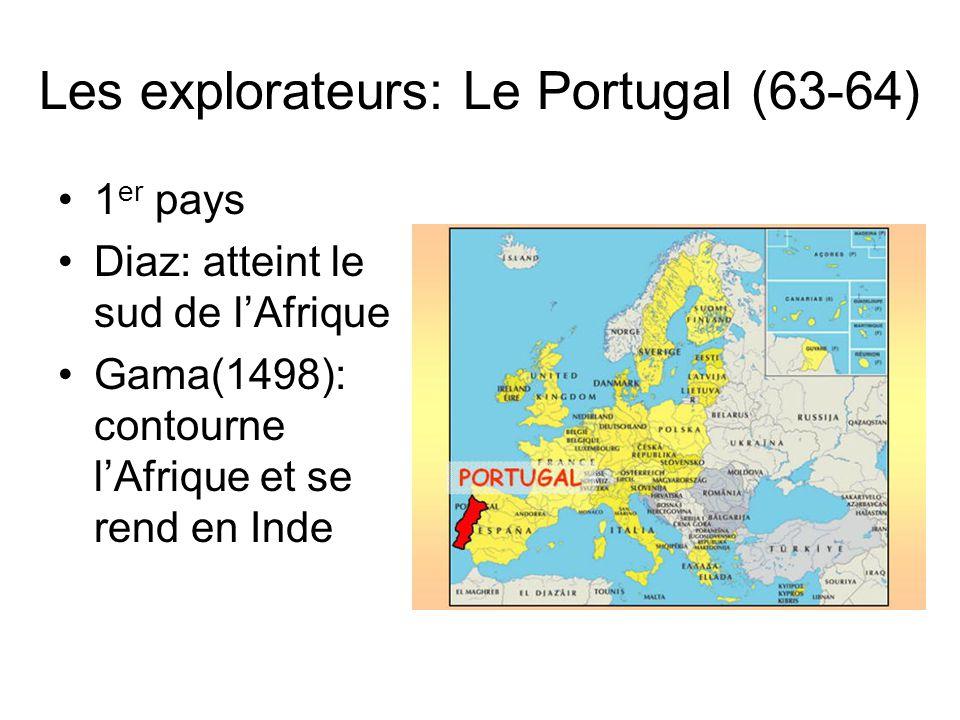 Les explorateurs et explorations (63) Principaux pays impliqués dans les découvertes –Portugal –Espagne –Angleterre –France