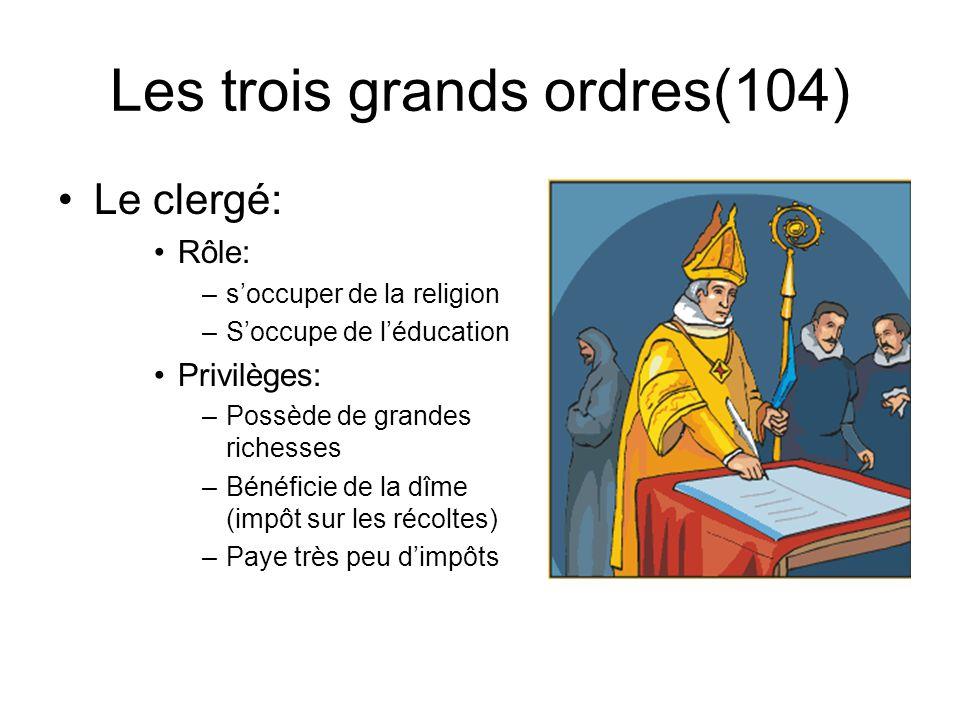 Les trois grands ordres(102-103) La noblesse (1.5 % de la population) La noblesse dépée La noblesse de robe Privilèges des nobles: Porter lépée Chasse