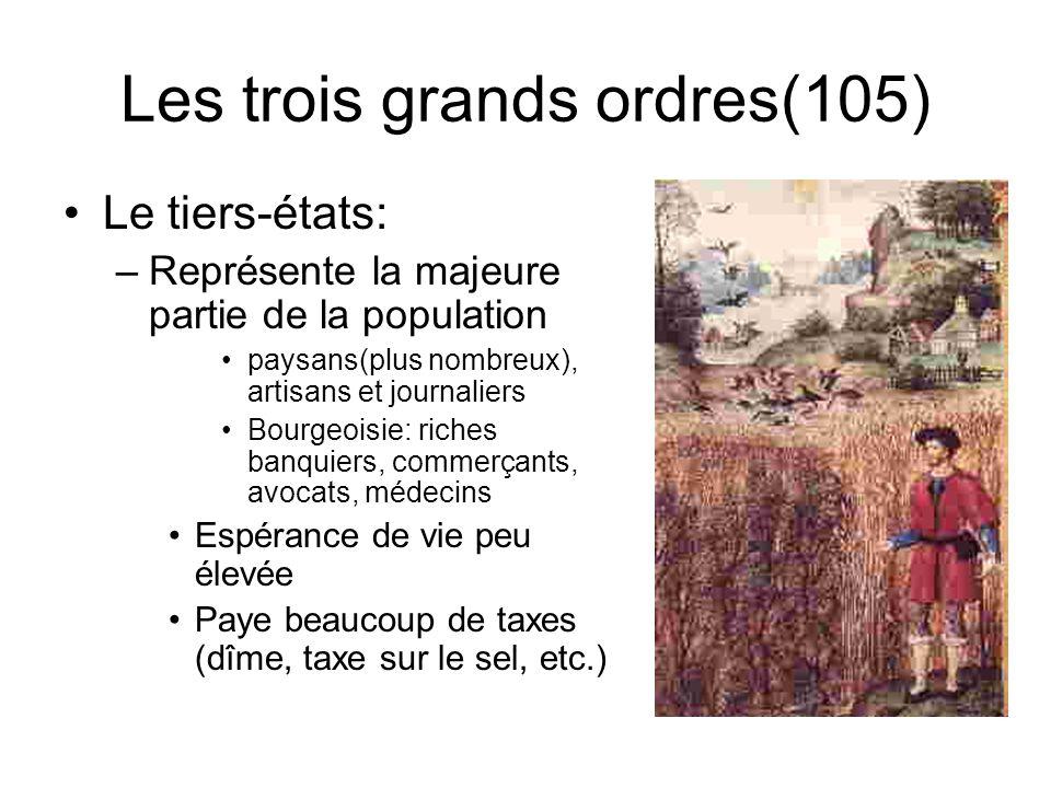 Les trois grands ordres(104) Le clergé: Rôle: –soccuper de la religion –Soccupe de léducation Privilèges: –Possède de grandes richesses –Bénéficie de