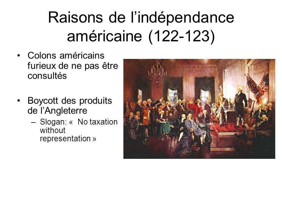 Raisons de lindépendance américaine (121-122) Traité de Paris 1763: –Crée un territoire Indien – agrandit la province de Québec Nouvelles taxes –Thé,
