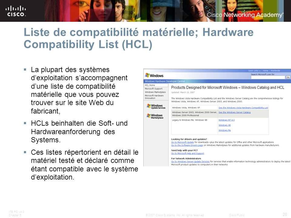 ITE PC v4.0 Chapter 5 20 © 2007 Cisco Systems, Inc.