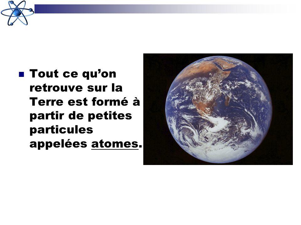 Tout ce quon retrouve sur la Terre est formé à partir de petites particules appelées atomes.