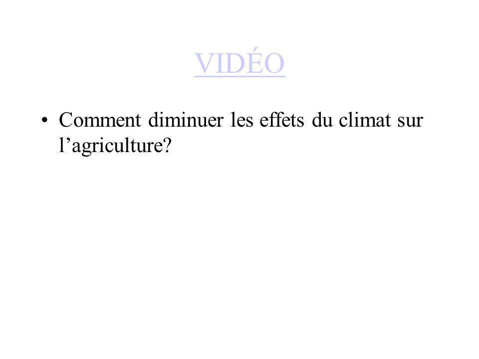 VIDÉO Comment diminuer les effets du climat sur lagriculture?