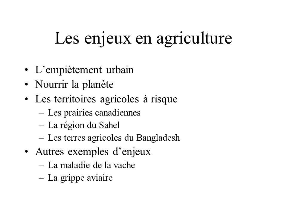 Les enjeux en agriculture Lempiètement urbain Nourrir la planète Les territoires agricoles à risque –Les prairies canadiennes –La région du Sahel –Les