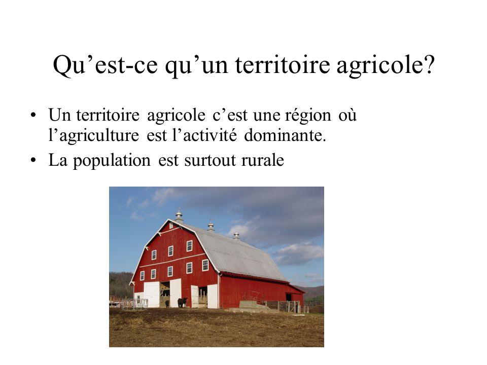 Quest-ce quun territoire agricole? Un territoire agricole cest une région où lagriculture est lactivité dominante. La population est surtout rurale
