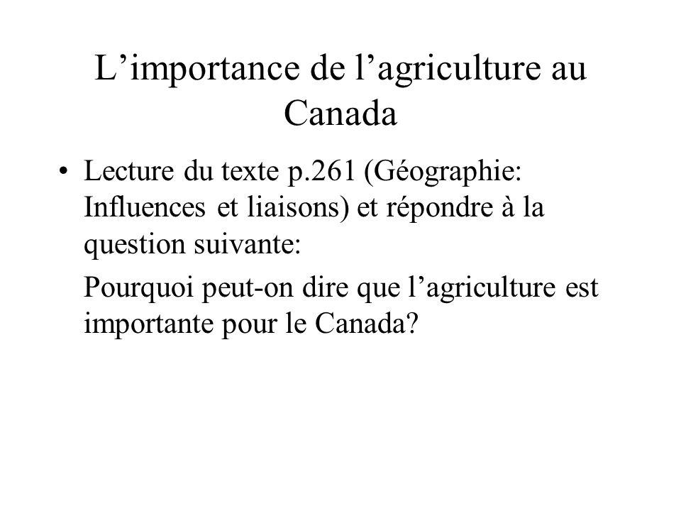 Limportance de lagriculture au Canada Lecture du texte p.261 (Géographie: Influences et liaisons) et répondre à la question suivante: Pourquoi peut-on