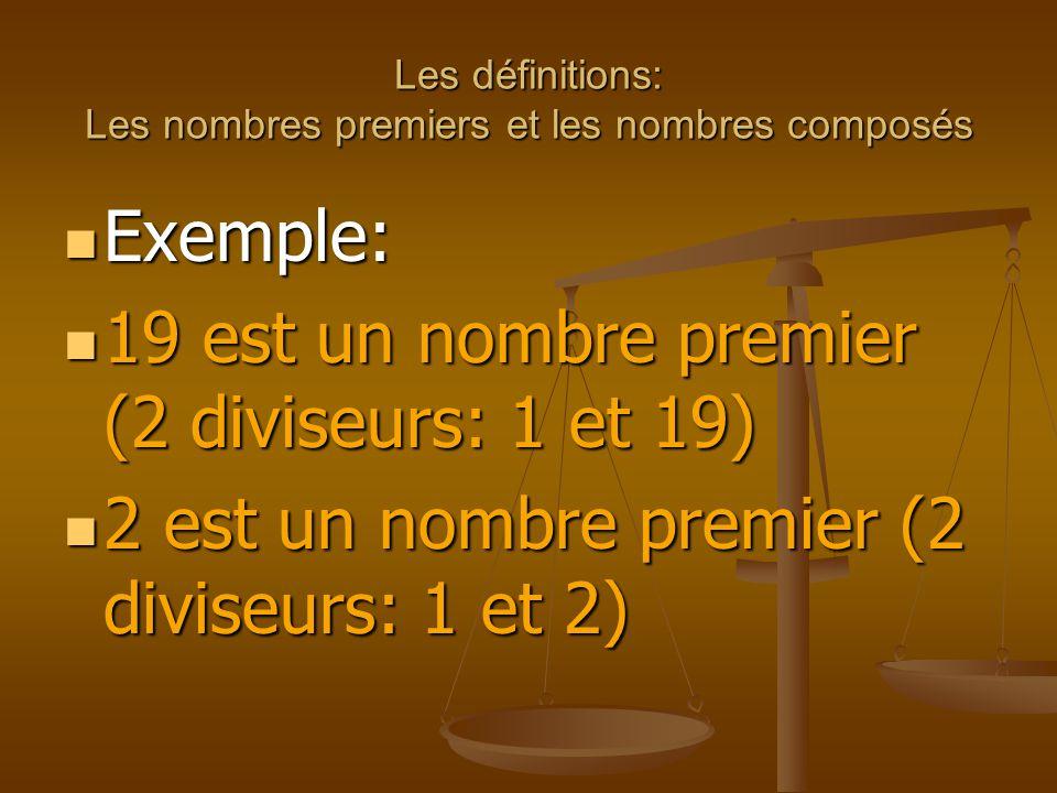 Les définitions: Les nombres premiers et les nombres composés Exemple: Exemple: 19 est un nombre premier (2 diviseurs: 1 et 19) 19 est un nombre premier (2 diviseurs: 1 et 19) 2 est un nombre premier (2 diviseurs: 1 et 2) 2 est un nombre premier (2 diviseurs: 1 et 2)