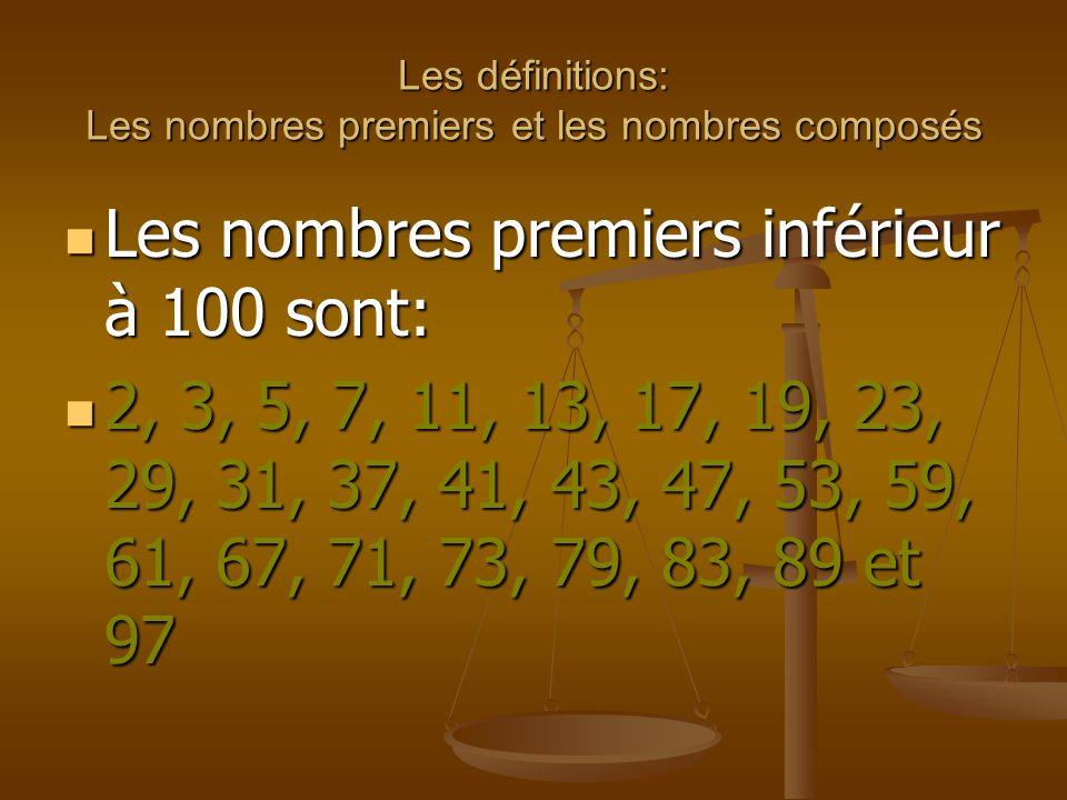 Les définitions: Les nombres premiers et les nombres composés Un nombre composé est un nombre supérieur à 2 qui possède plus de deux diviseurs.