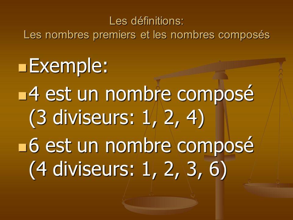 Les définitions: Les nombres premiers et les nombres composés Exemple: Exemple: 4 est un nombre composé (3 diviseurs: 1, 2, 4) 4 est un nombre composé (3 diviseurs: 1, 2, 4) 6 est un nombre composé (4 diviseurs: 1, 2, 3, 6) 6 est un nombre composé (4 diviseurs: 1, 2, 3, 6)
