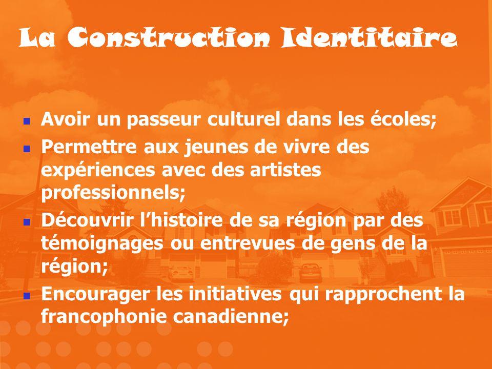 La Construction Identitaire Avoir un passeur culturel dans les écoles; Permettre aux jeunes de vivre des expériences avec des artistes professionnels;