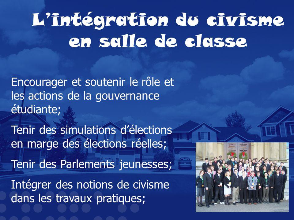 Lintégration du civisme en salle de classe Encourager et soutenir le rôle et les actions de la gouvernance étudiante; Tenir des simulations délections