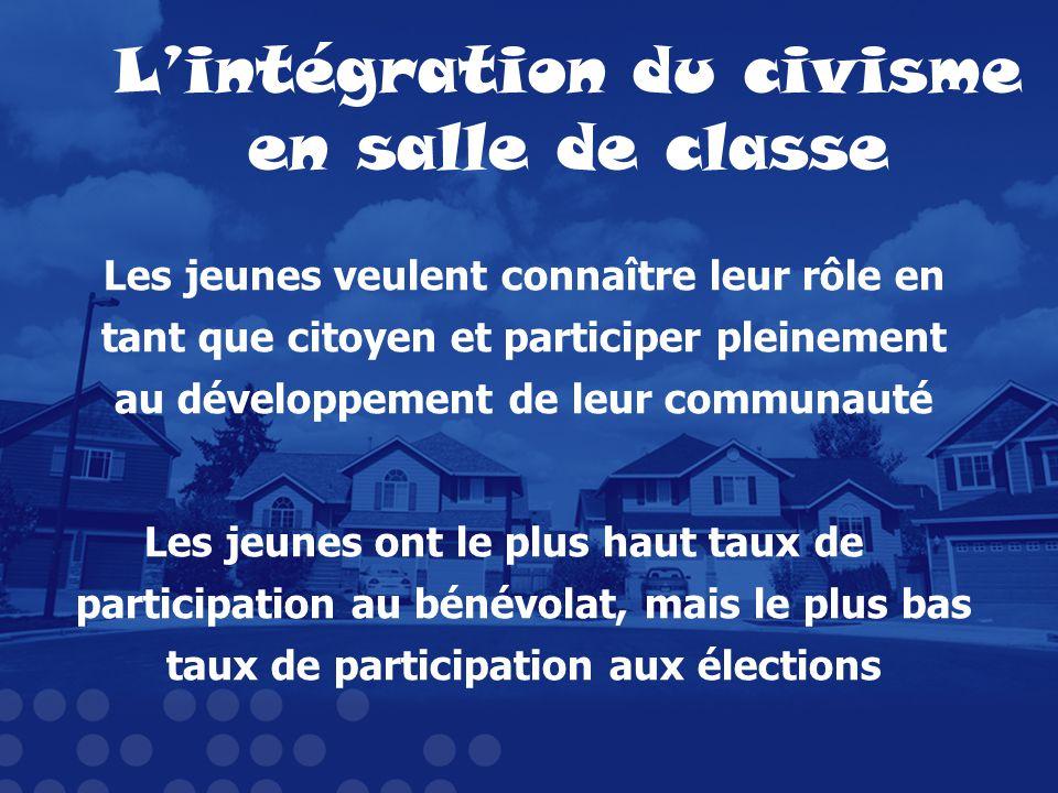Lintégration du civisme en salle de classe Les jeunes veulent connaître leur rôle en tant que citoyen et participer pleinement au développement de leu