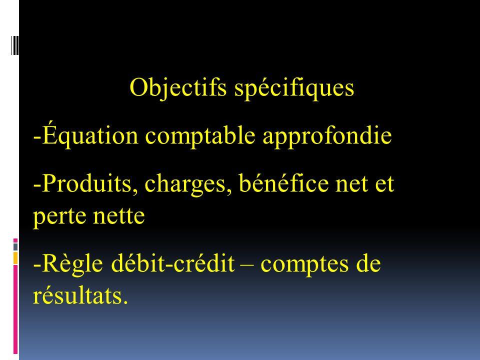 Objectifs spécifiques -Équation comptable approfondie -Produits, charges, bénéfice net et perte nette -Règle débit-crédit – comptes de résultats.