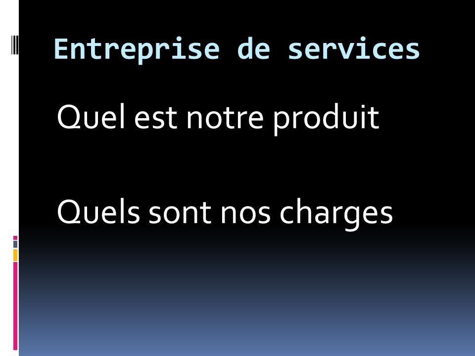 Entreprise de services Quel est notre produit Quels sont nos charges