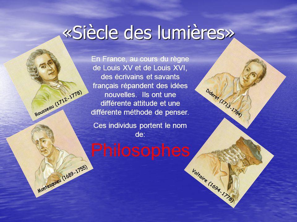 En France, au cours du règne de Louis XV et de Louis XVI, des écrivains et savants français répandent des idées nouvelles. Ils ont une différente atti