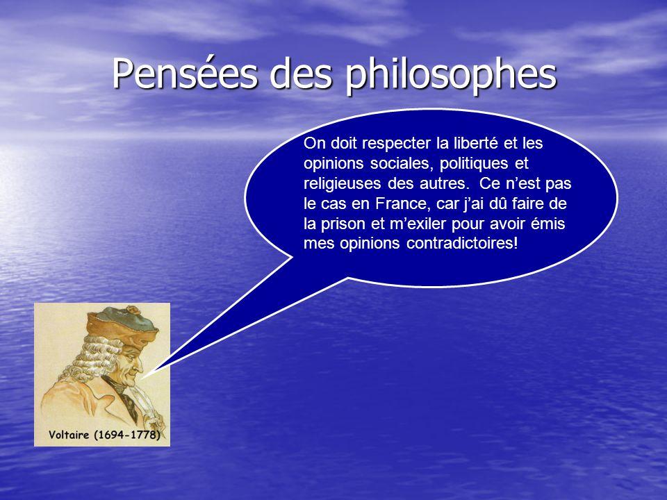 Pensées des philosophes Les humains naissent égaux. De nos jours, en France, il y a une société dordres (Noble, Clergé et Tiers états). Est-ce légalit