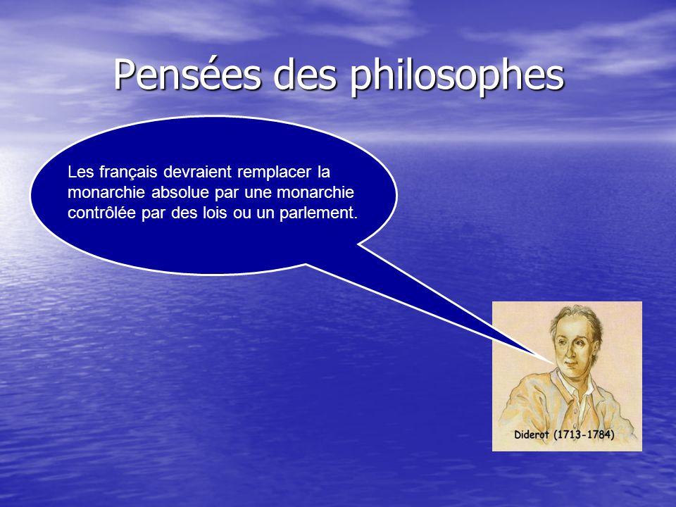 Pensées des philosophes Les français devraient remplacer la monarchie absolue par une monarchie contrôlée par des lois ou un parlement.