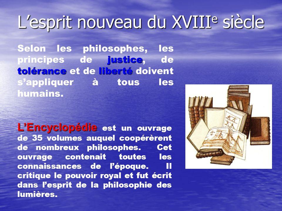 Lesprit nouveau du XVIII e siècle justice toléranceliberté Selon les philosophes, les principes de justice, de tolérance et de liberté doivent sappliq